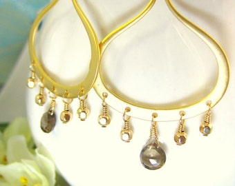 Smokey Quartz Gold Chandelier Bellydance Earrings - Smokey Quartz Gold Chandelier Earrings - Gold Filled Bellydance Brown Hoop Earrings