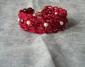 Macrame Beaded Bracelet (Red)