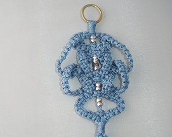 Macrame Christmas Ornament (Ming Maze,Blue)