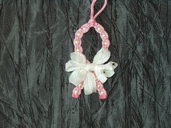 Macrame Awarness Ribbon Christmas Ornament (Pink)