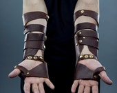 Men's Mage Bracers in Brown and Gold