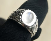 Bulan Ring, Moonstone Ring 1.3 ct, Sterling Silver Ring, Statement Ring, Signet Ring Design