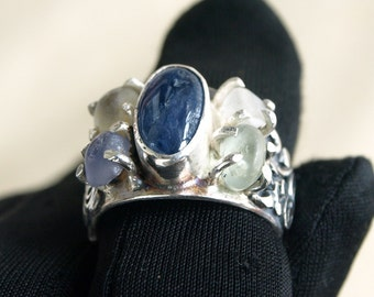Mail ring, 2.45 ct Sapphire, Sterling Silver Ring, Gemstone Ring