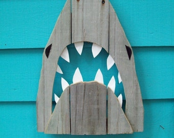 Shark art, made of recycled fence wood. JAWS, Great White, outdoor art