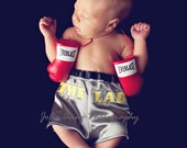 Little Fighter Infant Boxing Trunks - Photo Prop Diaper Cover, Baby Boxer Shorts, Custom Boxing Trunks, Birth Announcement ideas