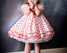 Shirley Temple Inspired Girls Dress Set - Custom Made Girls Clothing, Custom Costumes for Children, Stand up and Cheer, Polka Dot Dress