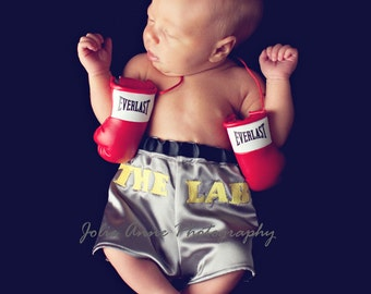 Little Fighter Infant Boxing Trunks - Photo Prop Diaper Cover, Baby Boxer Shorts, Birth Announcement ideas