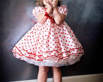 Shirley Temple Polka Dot Girls Dress Set, Stand up and Cheer Dress, Girls Costumes, Dance and Pageant Costume, Outfit of Choice, OOC