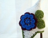 Pointed White Baby Hat with Earflaps, Blue and Burgundy Flower and Olive Green Leaves