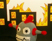 RoboJeet -- Crochet Robot Alien Monster with Red Fin and Antenna