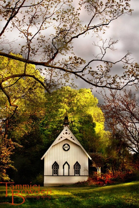 Chapel of Love - Original Photograph - Autumn Wedding Anniversary Sweet Old Church Home Decor