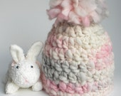Newborn Baby Girl Pink Puff Winter Hat Photo Prop - Dove Gray, Petal Pink and Ivory READY TO SHIP