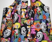 BIG ToteRoll Reusable Grocery Tote Bag - Mexican Folk Art Day of the Dead