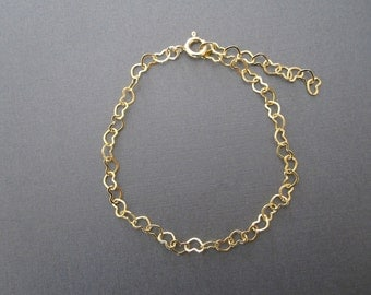 Gold Heart Chain Bracelet / Anklet