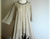 Asymmetrical grey  black dress - tunic Plus Size LINEN knitted eco friendly clothing natural