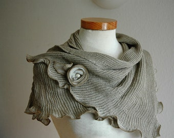 LINEN Natural Scarf  With  Knitted Linen Grey, Eco Friendly Clothing, Linen Clothing, Scarf Cowi Wrap
