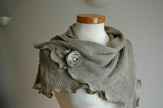 LINEN Natural Scarf  With  Knitted Linen Grey Eco Friendly Clothing