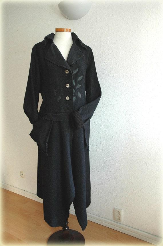 Unique Black Asymmetrical Coat Fashion Wool  Leather Applique  Woman's Clothing Fantasy L -XL Size