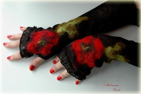Romantic Black Mittens Arm Warmers With Unique Felt Fower Appliques eco friendly