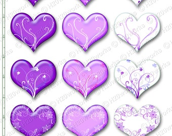 Purple Hearts & Swirls Clipart Set on 8.5x11 Sheet Purple, Lilac, Lavender, White, Clip Art, Valentines, INSTANT DOWNLOAD