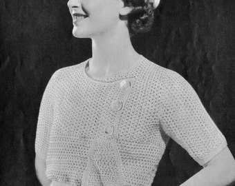 "1930s Crocheted Blouse Pattern ""Charmer""  Vintage Crochet Pattern PDF, c. 1935"