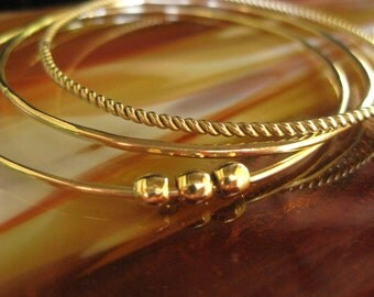 Gold Fill TWIST Bangle Bracelet Handcrafted for You