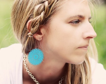 FREDA - BRIGHT Turquoise Filigree Earrings- Great for Stocking Stuffers, Bridesmaid Gifts, and Family Pictures