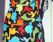 Kids Apron Colorful Dinosaurs On Black