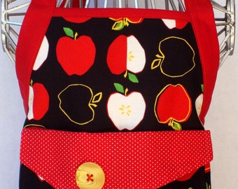 Kids Apron Metro Market Apples In Black