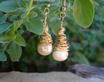 Gold Toned Wound Pearl Earrings