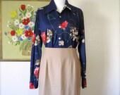 Vintage Skirt / 80s Wool pencil skirt / Large