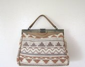 SALE Vintage Purse / 80's Southwestern Woven Bag / Satchel
