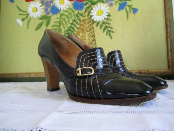 SALE Vintage Shoes / 70s Italian leather Beltrami heels / 7