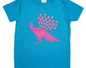 SALE, Kids bamboo clothes, bright blue & pink peacock shirt, girls clothes, kids toddler girls t-shirt
