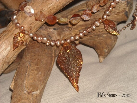 Beautiful Fall - Copper and Brandy Opal Necklace