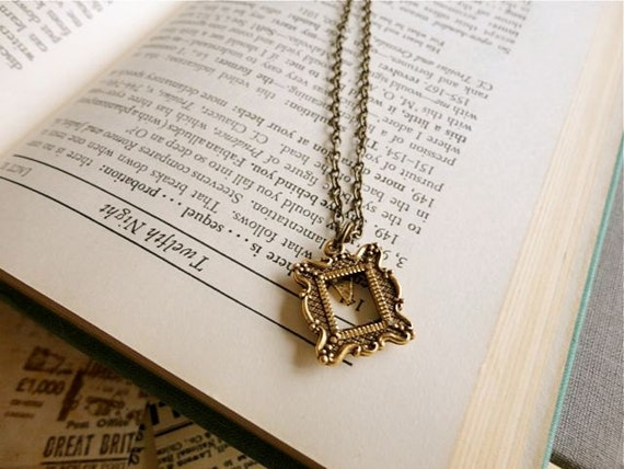 Miniature antiqued gold open photo frame necklace, In Perspective