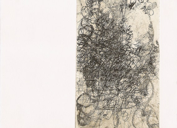 """Imprint, small, original, abstract 9.5"""" x 7"""" hand-pulled intaglio copperplate etching printmaking"""