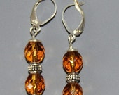 CLEARANCE SALE - Grecian Goddess Collection - Bronze Czech Fire Polished Bead and Antique Silver Pewter Earrings