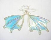 Tooth Fairy Wings, Mint Fairy Earrings, sea foam earrings, aqua wings, OOAK, 'Elemental Light'