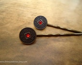 Cabochon hair slides - Lucky Chinese coin accented with red rhinestone traditional oriental asian feng shui hair accessories TREASURY ITEM