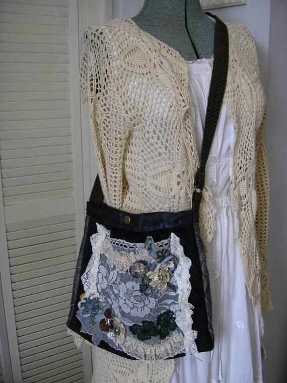 RESERVED Handmade Fabric Bag, long cross over strap, blue shoulder purse, lace embellished SALE