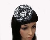Pillbox Hat Mini Silver Metallic Spider Retro Goth