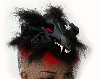 Gothic Victorian Hat with Skull and Feathers Handmade Steampunk