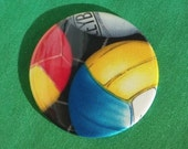 "VOLLEYBALL Pocket Mirror multi colored 3""  Large Glass Mirror"