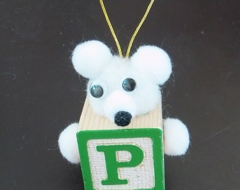 P Teddy Bear Block Ornament For Present Tags Hanging Wooden Block