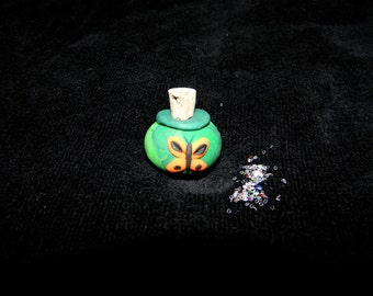 Fairy Butterfly Jar with Sparkle Glitter a Polymer Clay Miniature for Fairy Play