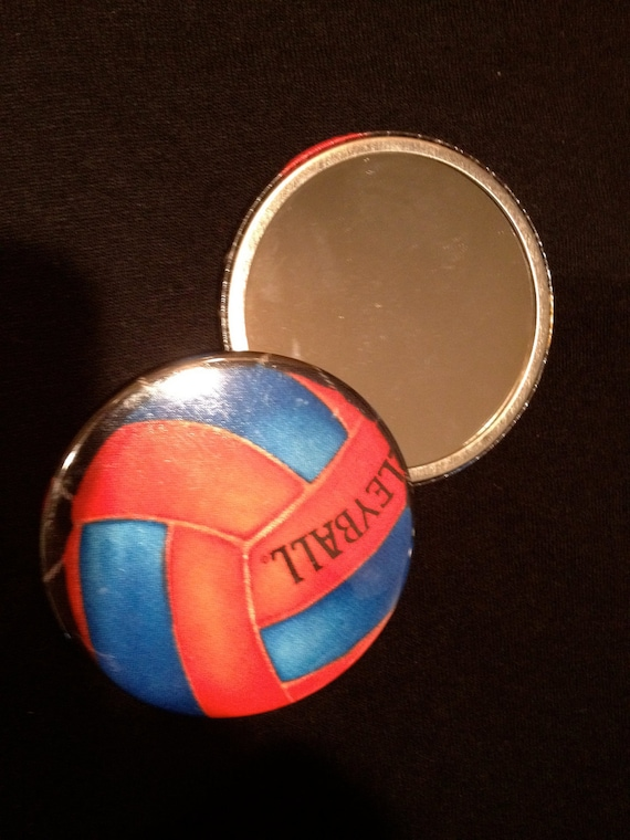 "VOLLEYBALL Pocket Mirror Fabric Blue and Red - 3"" Glass Mirror Basket Stuffer"