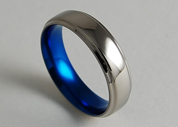 Mens Titanium Wedding Ring , Neptune Band in Nightfall Blue with ...