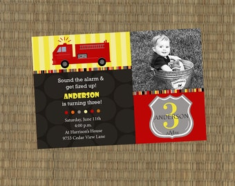 Printable Fire truck Birthday Invitation - Sound the Alarm Fire Truck Invitation, fireman