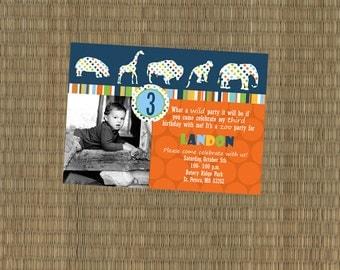 Printable Zoo Birthday Party Invitation - Zoo Animal Safari Invitation